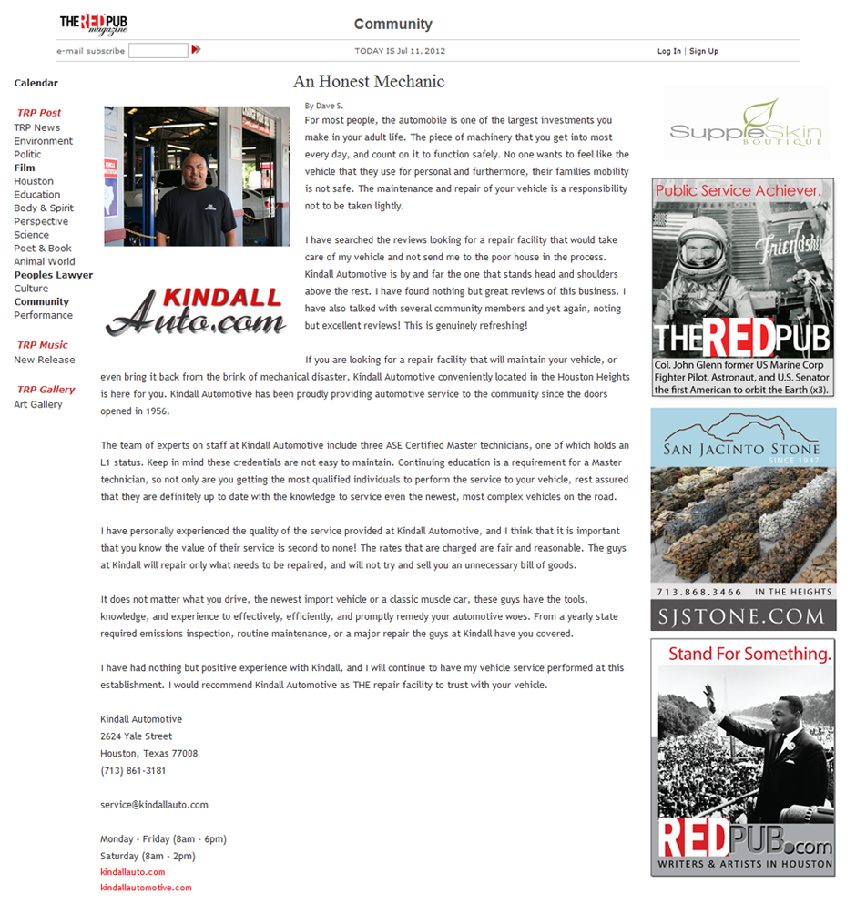 Kindall Auto Kindall Automotive The Red Pub Magazine Article Honest Mechanic